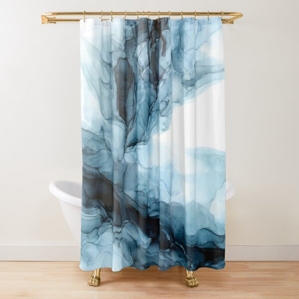 Blue Ice Water Phoenix Abstract Painting Shower Curtain
