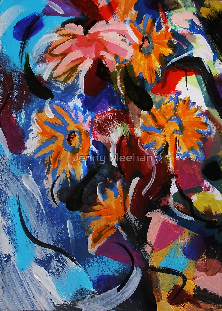 Falling Flowers in Water Fall - painting by Jenny Meehan by Jenny Meehan