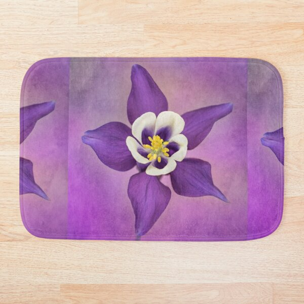 Purple Aquilegia with textures Bath Mat