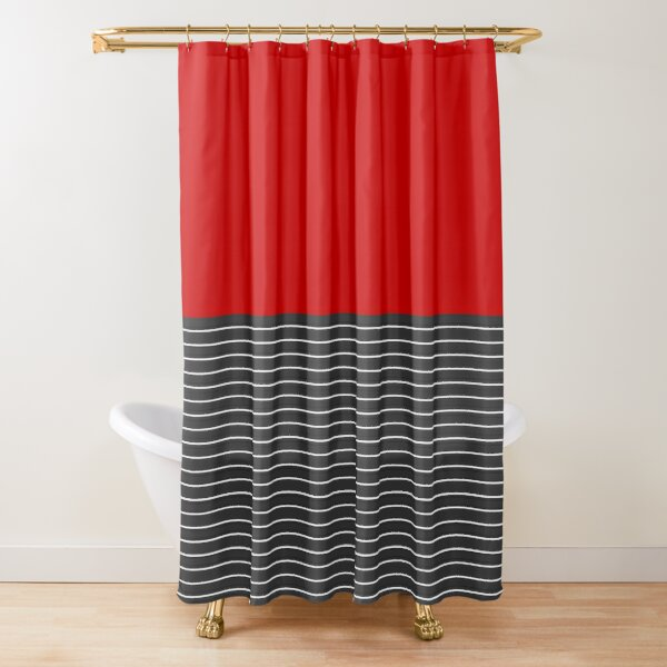 Half thin striped red Shower Curtain