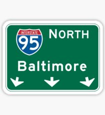 Baltimore, MD Road Sign, USA Sticker