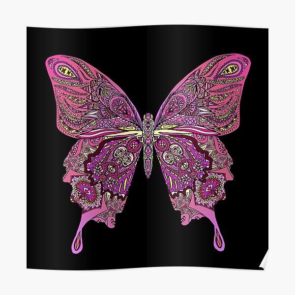 Pink Butterfly Mandala Poster