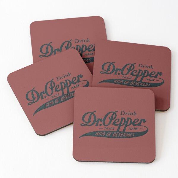 Vintage Dr. Pepper Logo - King of Beverages (Black Text Version) Coasters (Set of 4)