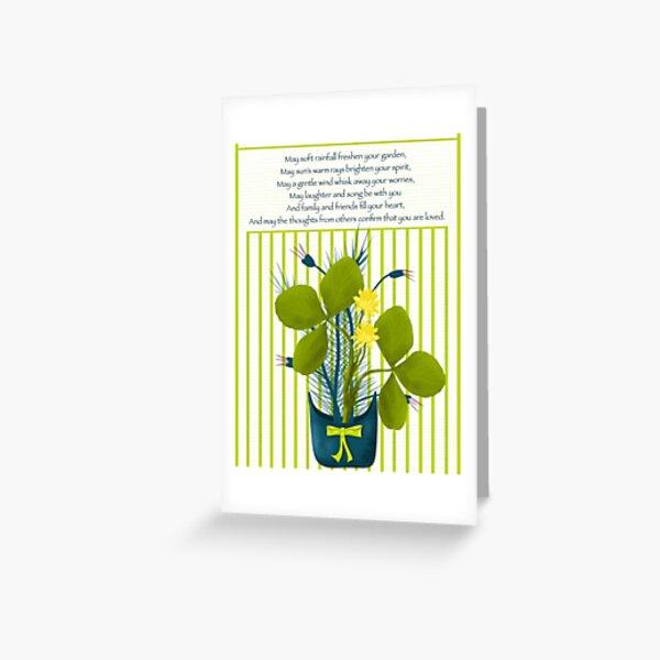 St Patrick Shamrock in Pot Blessing Greeting Card
