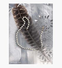 Feather and pearls and a broken heart.. Photographic Print