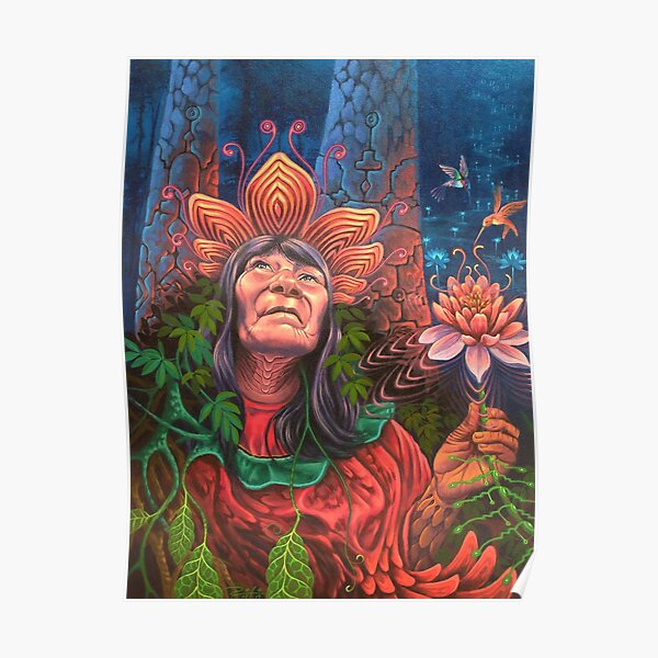 Sacred Bloom | Shipibo visionary art by Rafael Oliveria Poster
