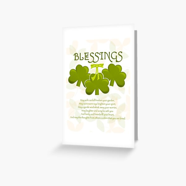 St Patrick Shamrock Blessing with a green bow and light orange accents Greeting Card