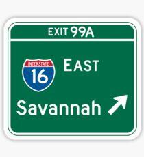 Savannah, GA Road Sign, USA Sticker