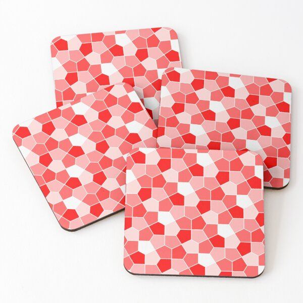 Cairo Pentagonal Tiles Red Coasters (Set of 4)