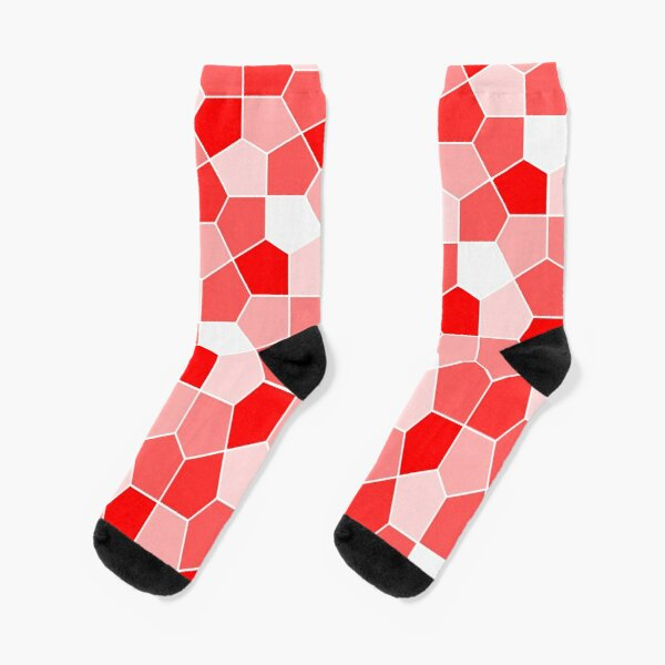 Cairo Pentagonal Tiles Red Socks