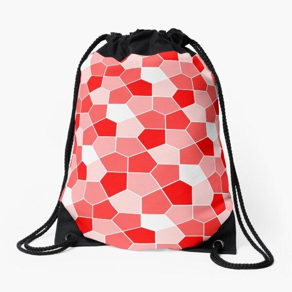 Cairo Pentagonal Tiles Red Drawstring Bag