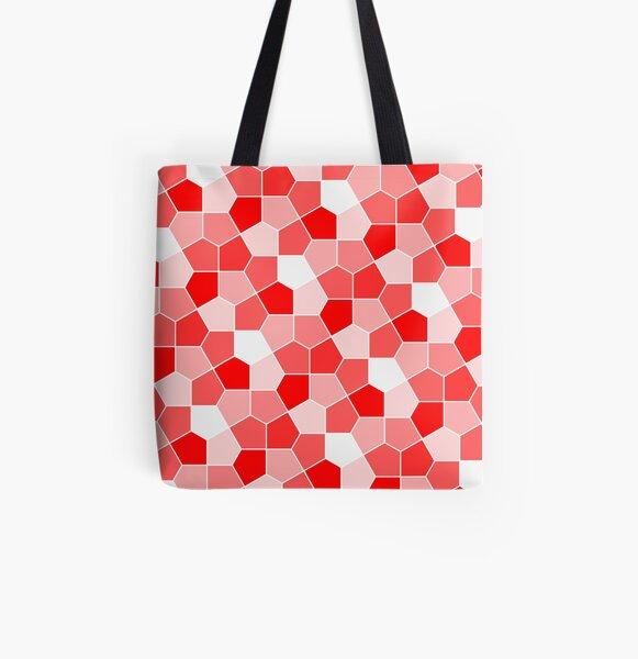 Cairo Pentagonal Tiles Red All Over Print Tote Bag
