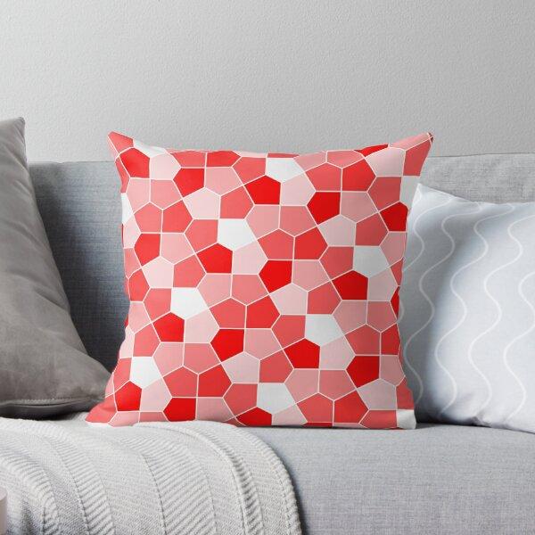 Cairo Pentagonal Tiles Red Throw Pillow