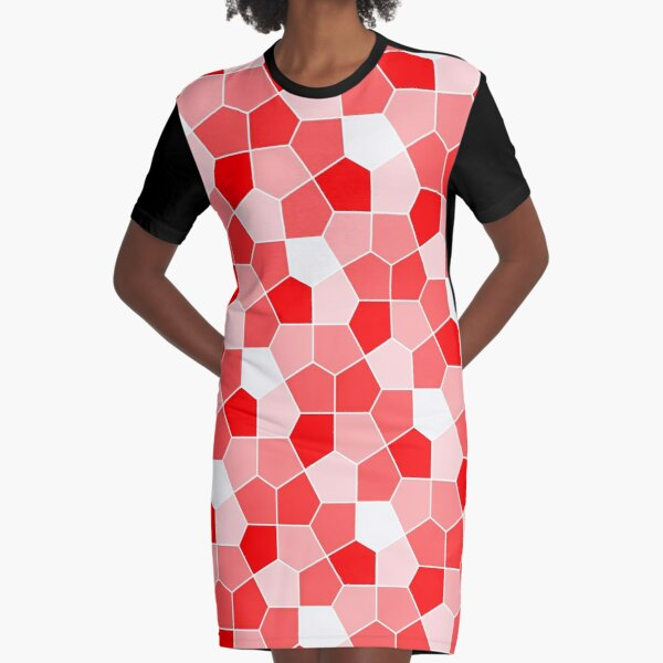 Cairo Pentagonal Tiles Red Graphic T-Shirt Dress