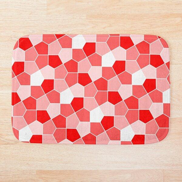 Cairo Pentagonal Tiles Red Bath Mat