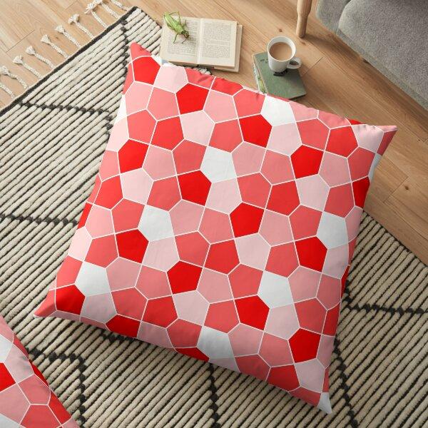 Cairo Pentagonal Tiles Red Floor Pillow