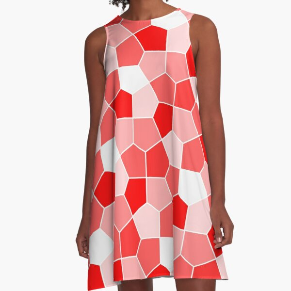Cairo Pentagonal Tiles Red A-Line Dress