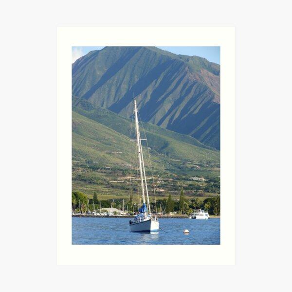 Maui Boat and Mountains Art Print