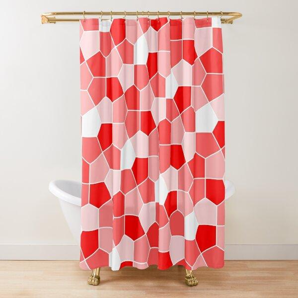 Cairo Pentagonal Tiles Red Shower Curtain