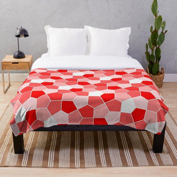 Cairo Pentagonal Tiles Red Throw Blanket