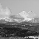 Longs Peak Circling Clouds BW by Bo Insogna