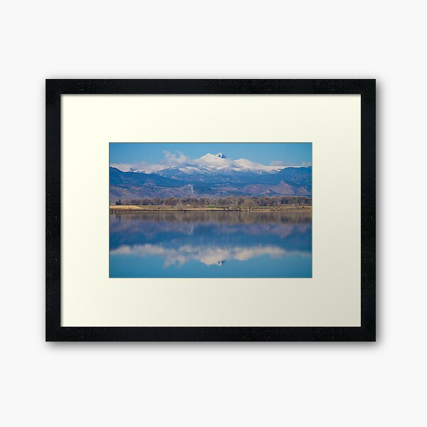 Colorado Longs Peak Circling Clouds Reflection Framed Art Print