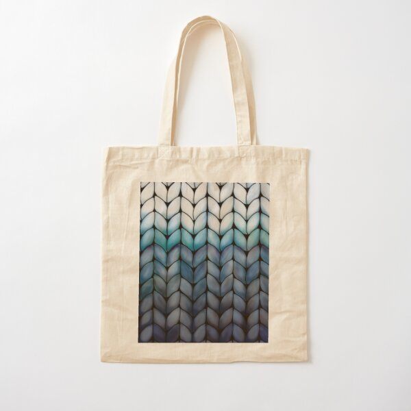 Chunky Ocean Blue Knit Cotton Tote Bag