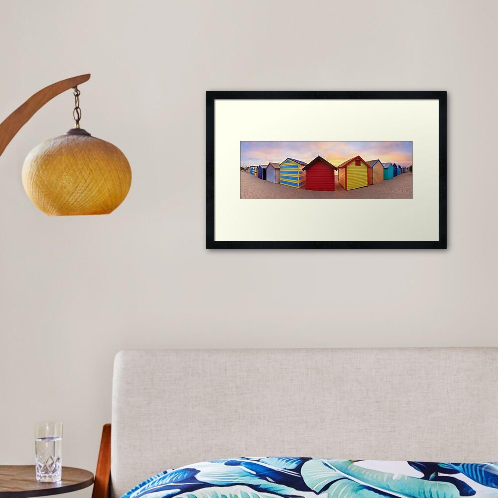 Brighton Beach Boxes, Melbourne, Victoria, Australia Framed Art Print