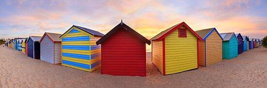 Brighton Beach Boxes, Melbourne, Victoria, Australia by Michael Boniwell