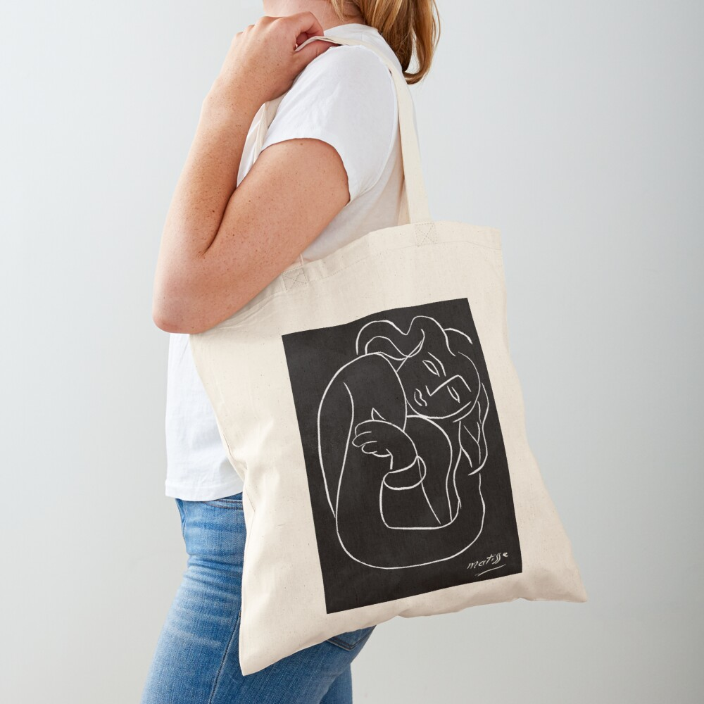 TAHITIAN LADY : Vintage Matisse Black and White Painting Print Tote Bag