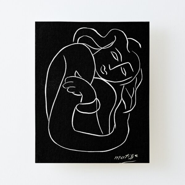 TAHITIAN LADY : Vintage Matisse Black and White Painting Print Canvas Mounted Print