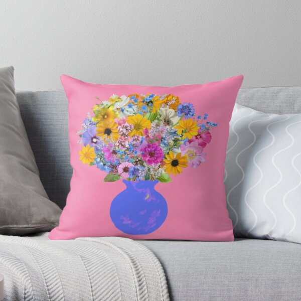 French blue vase with sunny bouquet by Tea with Xanthe Throw Pillow