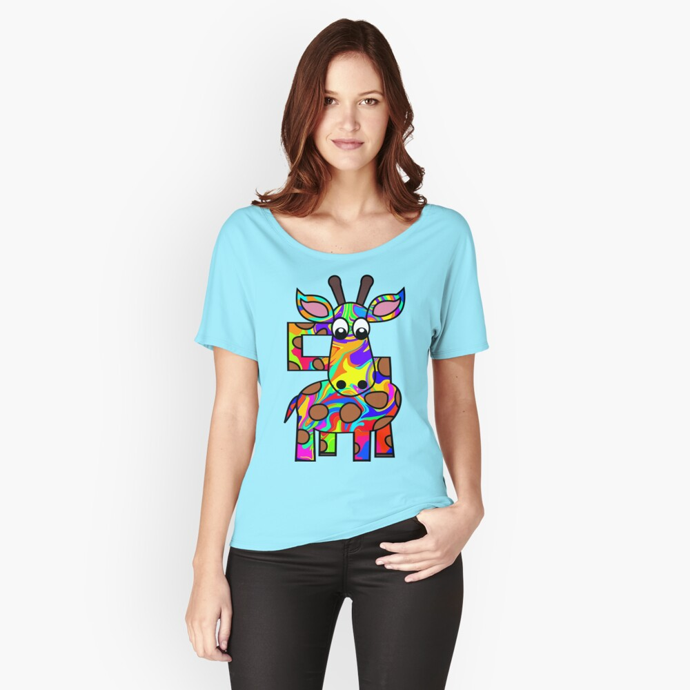Colorful Giraffe Women's Relaxed Fit T-Shirt Front