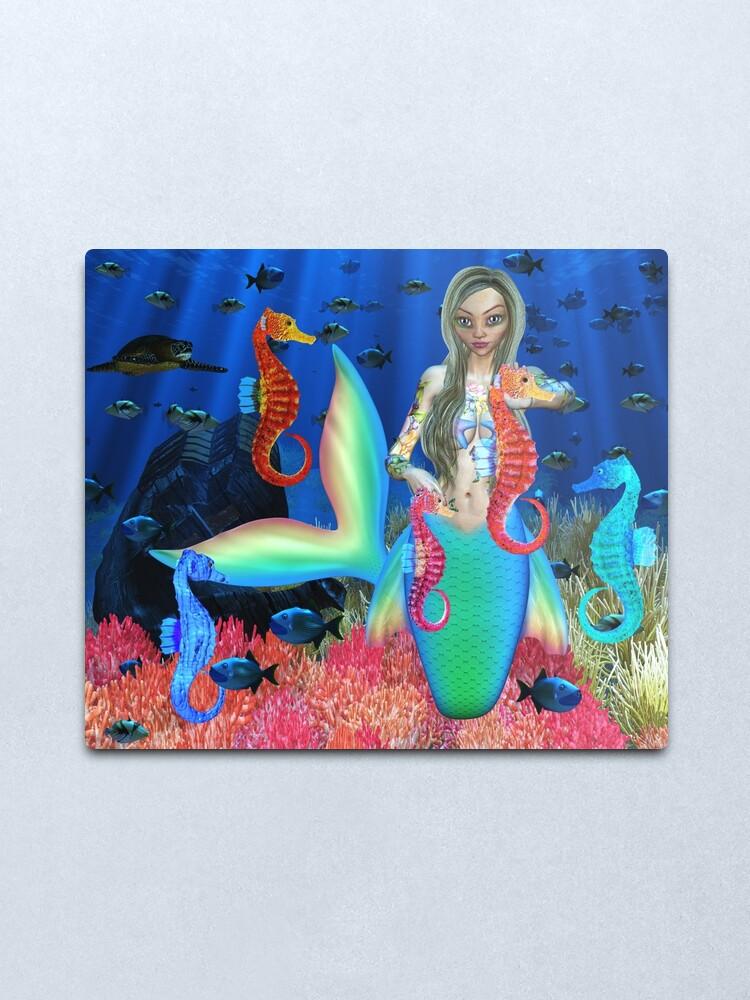 Alternate view of Mermaid and seahorse friends Metal Print