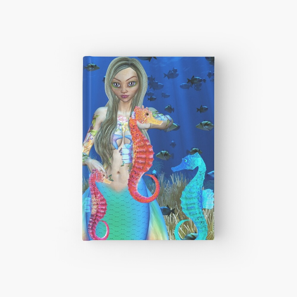 Mermaid and seahorse friends Hardcover Journal