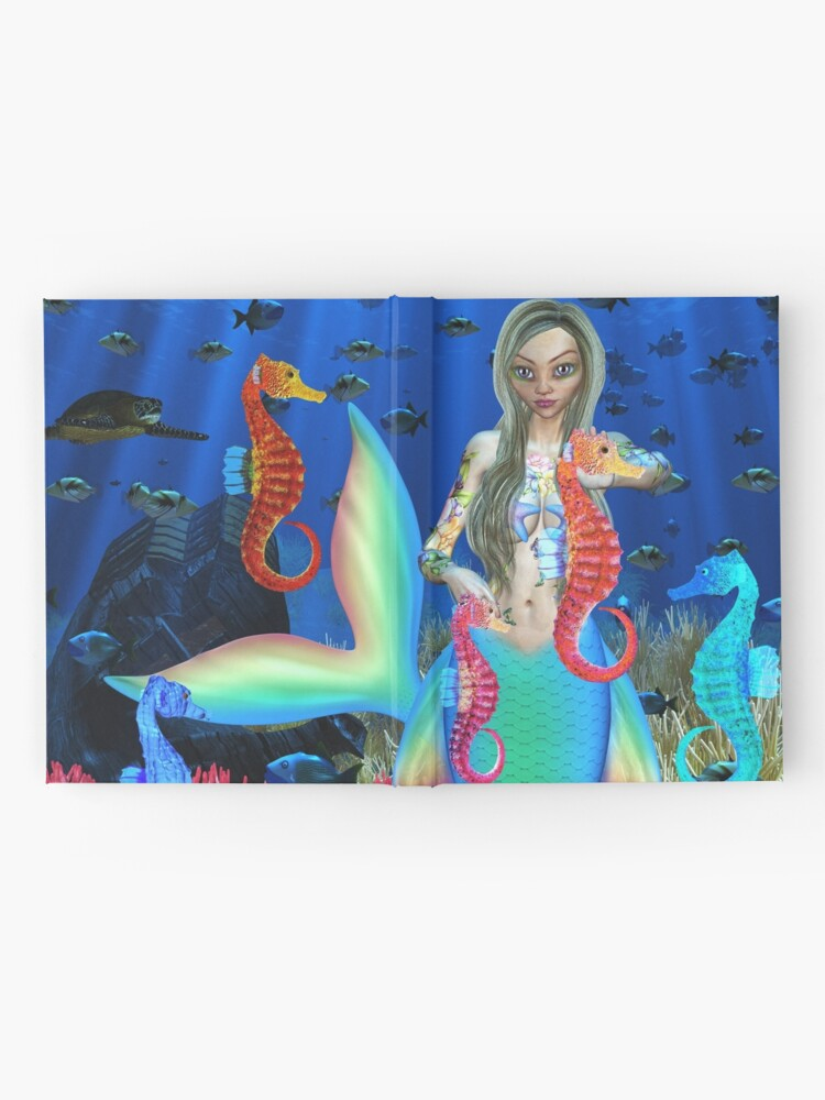 Alternate view of Mermaid and seahorse friends Hardcover Journal