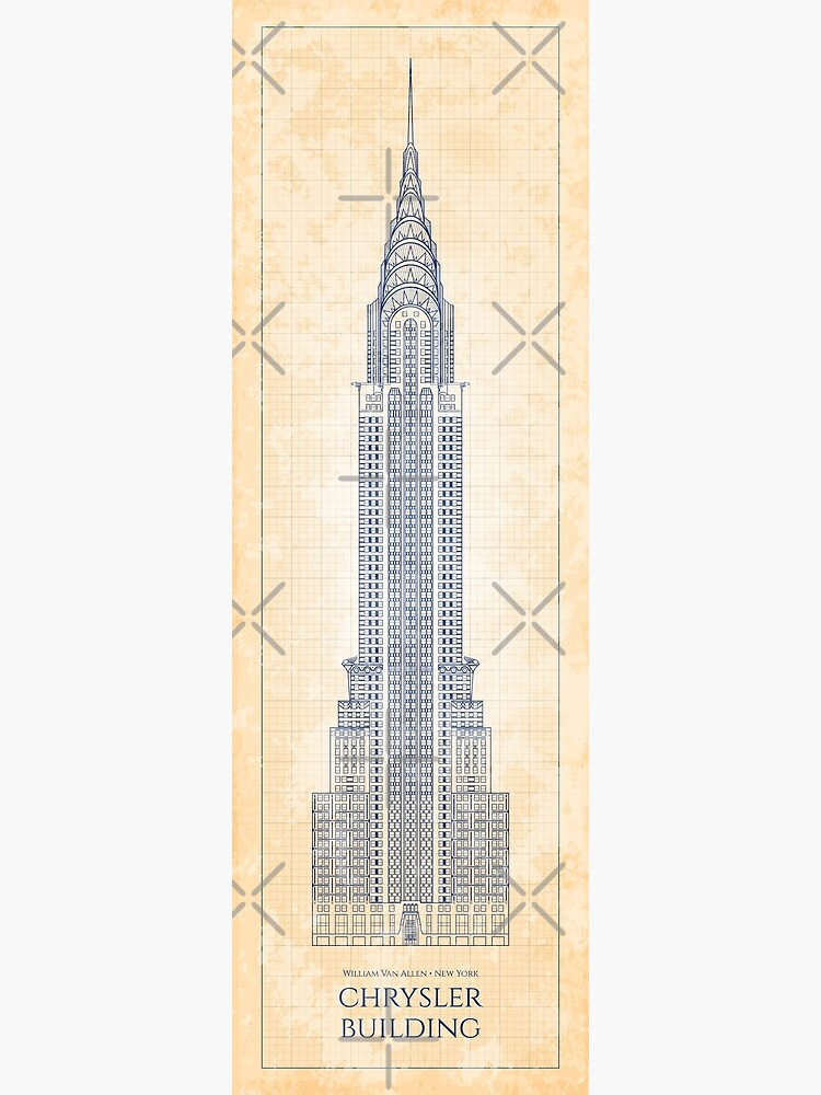 Chrysler Building Front - Old Blue Grid by BGALAXY