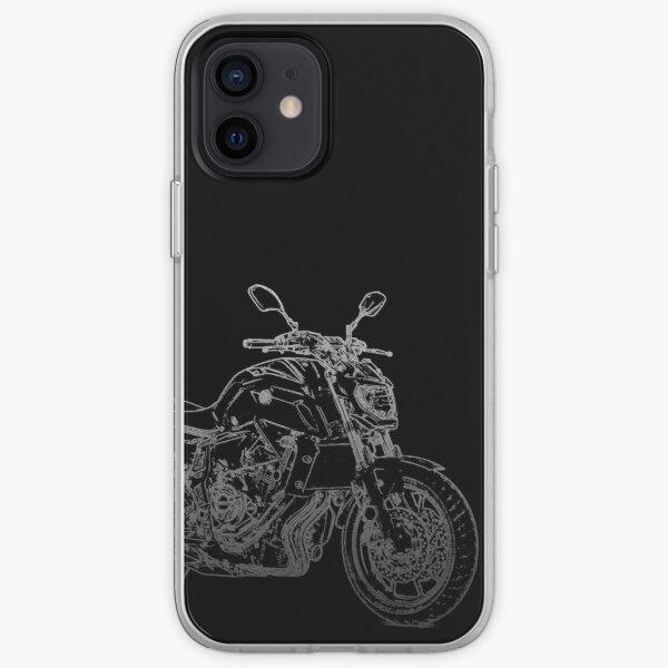 Yamaha MT07 crayon silhouette moto nu vélo roadster Coque souple iPhone