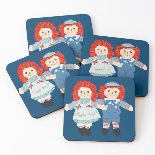 Raggedy Ann and Raggedy Andy the vintage dolls  Coasters (Set of 4)
