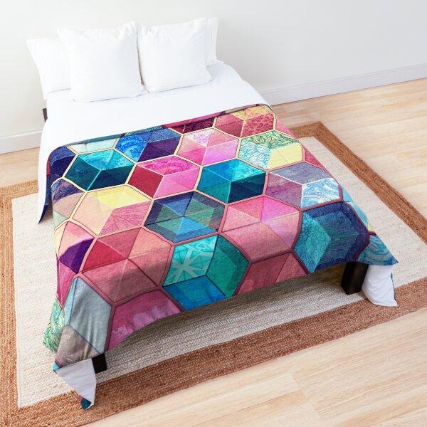 Topaz & Ruby Crystal Honeycomb Cubes Comforter