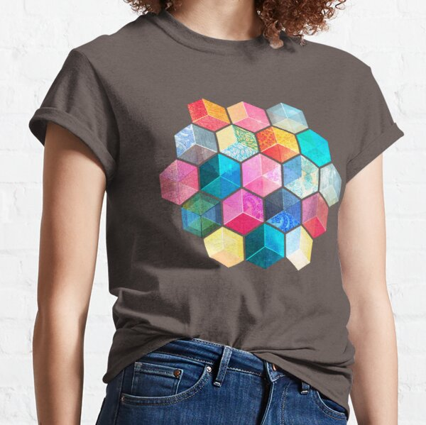 Crystal Bohemian Honeycomb Cubes - colorful hexagon pattern Classic T-Shirt