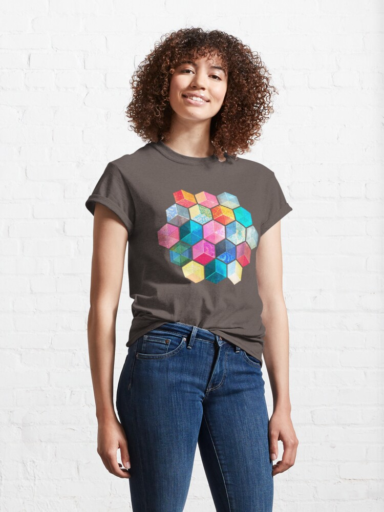 Alternate view of Crystal Bohemian Honeycomb Cubes - colorful hexagon pattern Classic T-Shirt