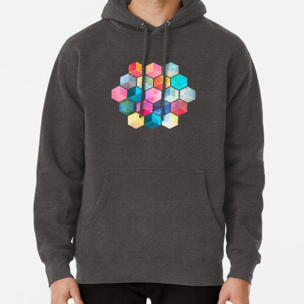 Crystal Bohemian Honeycomb Cubes - colorful hexagon pattern Pullover Hoodie