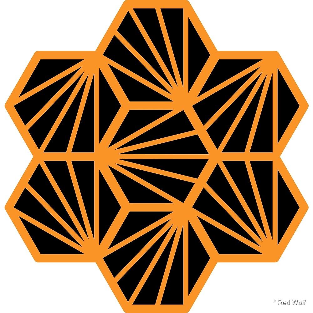 Geometric Pattern: Hexagon Ray: Black Orange by * Red Wolf