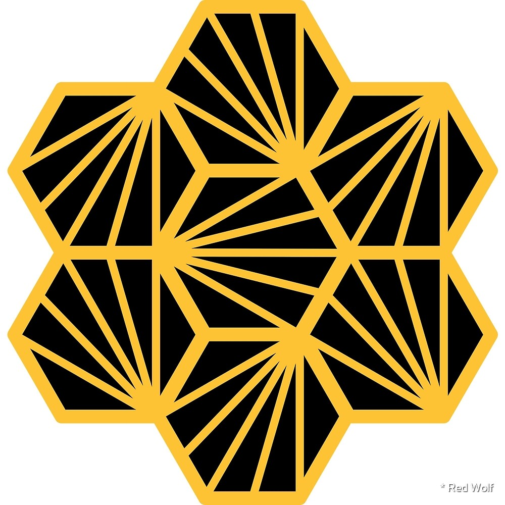 Geometric Pattern: Hexagon Ray: Black Yellow by * Red Wolf
