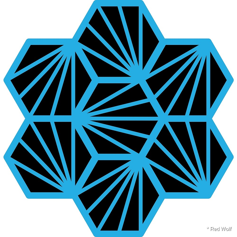 Geometric Pattern: Hexagon Ray: Black Blue by * Red Wolf