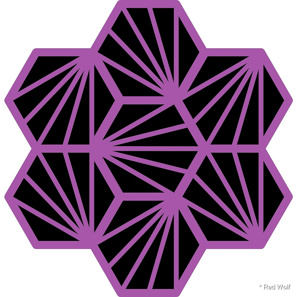 Geometric Pattern: Hexagon Ray: Black Purple by * Red Wolf