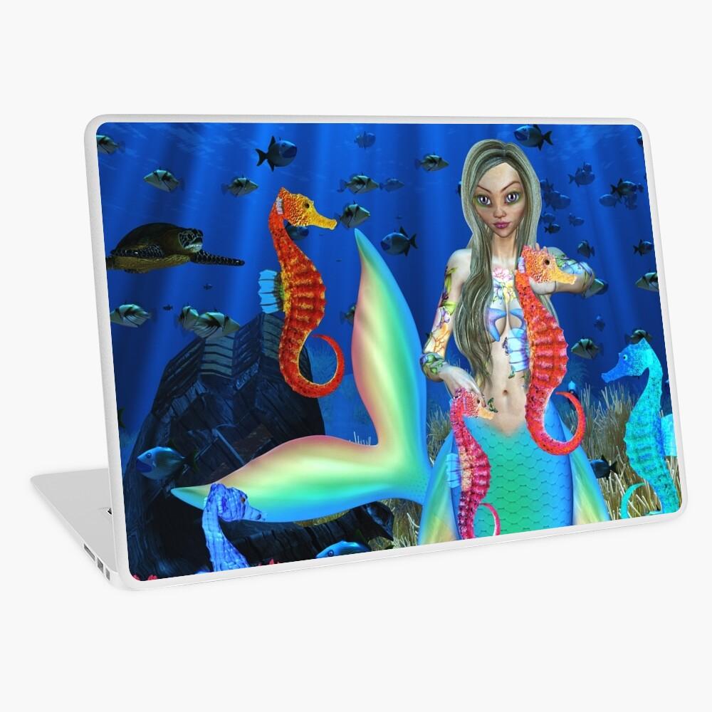 Mermaid and seahorse friends Laptop Skin