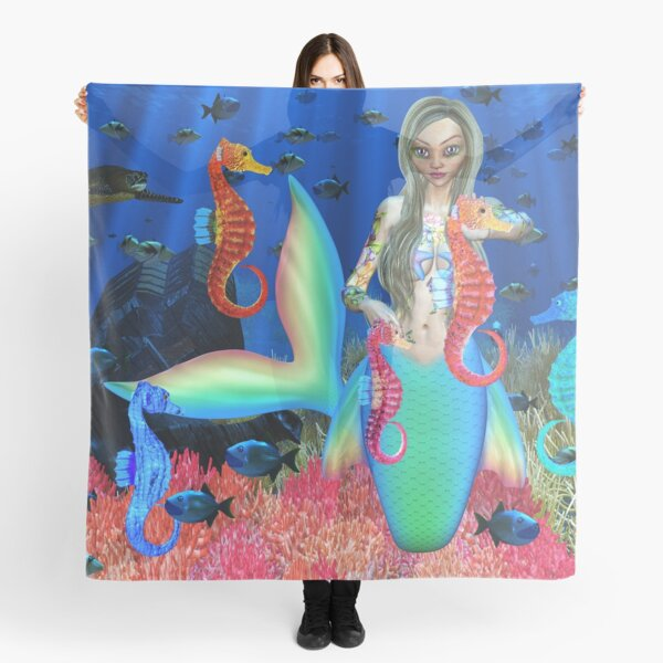 Mermaid and seahorse friends Scarf