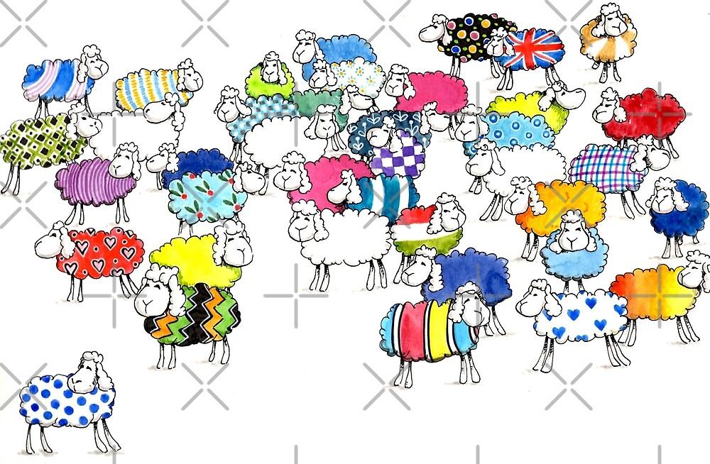 Baaah multicoloured sheep by Judit Matthews